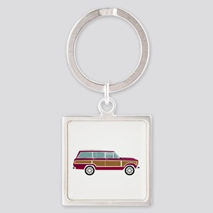 Weekend Wagon Square Keychain