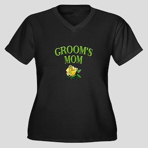 Groom's Mom (rose) Women's Plus Size V-Neck Dark T