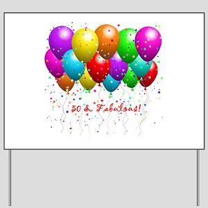 50 Fabulous Birthday Balloons Yard Sign