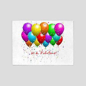 50 & Fabulous Birthday Balloons 5'x7'Area Rug