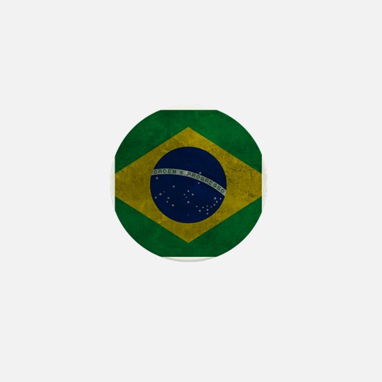Grunge Braziilan Flag Mini Button