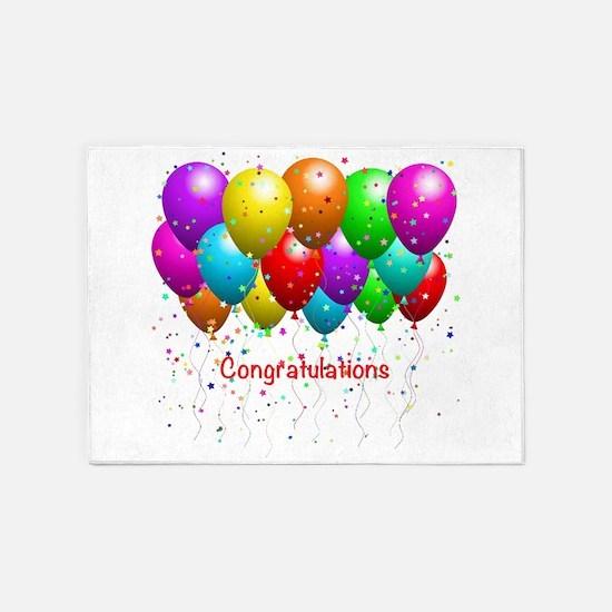Congratulations Balloons 5'x7'Area Rug