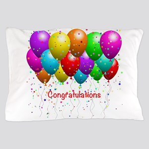 Congratulations Balloons Pillow Case