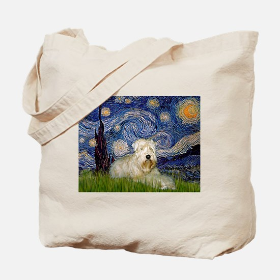 Starry Night & Wheaten Terrier Tote Bag
