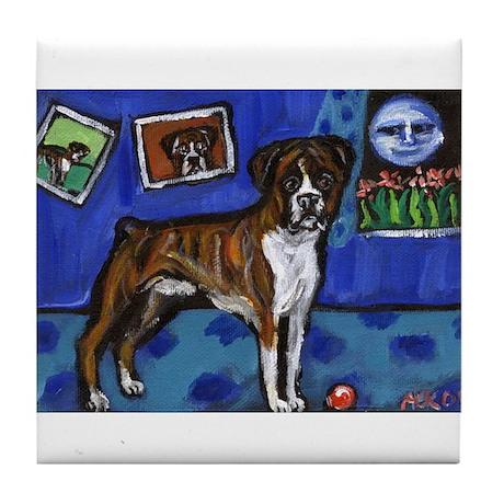 BOXER senses smiling moon Tile Coaster