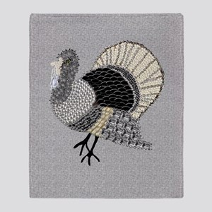 Black and White Decorated Turkey Throw Blanket