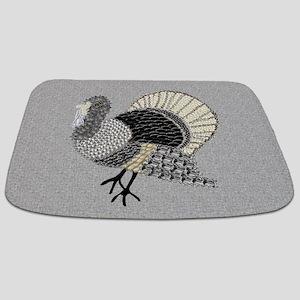 Black and White Decorated Turkey Bathmat
