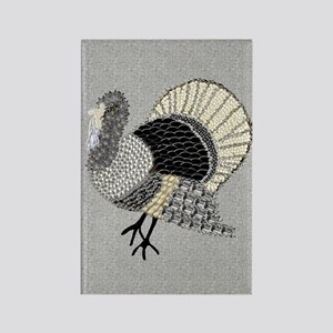 Black and White Decorated Turkey Rectangle Magnet