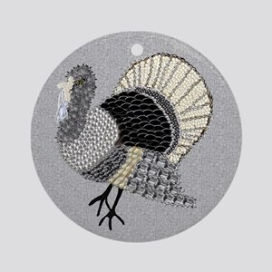 Black and White Decorated Turkey Ornament (Round)