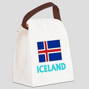 Iceland Flag Classic Blue Design Canvas Lunch Bag