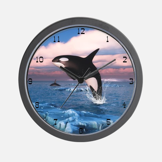 Killer Whales In The Arctic Ocean Wall Clock