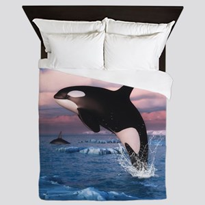 Killer Whales In The Arctic Ocean Queen Duvet