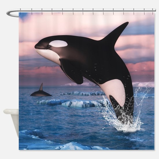 Killer Whales In The Arctic Ocean Shower Curtain