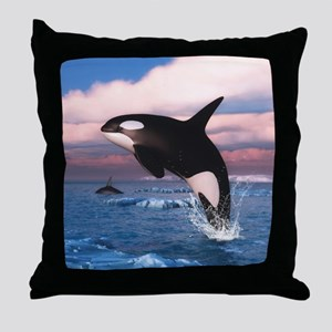 Killer Whales In The Arctic Ocean Throw Pillow