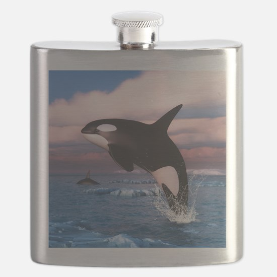 Killer Whales In The Arctic Ocean Flask