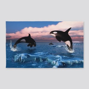 Killer Whales In The Arctic Ocean 3'x5' Area Rug