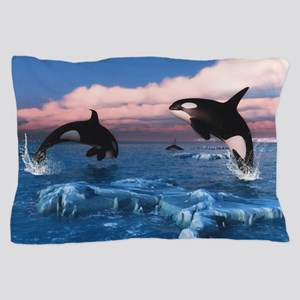 Killer Whales In The Arctic Ocean Pillow Case