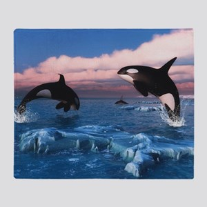 Killer Whales In The Arctic Ocean Throw Blanket