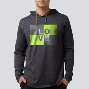 LOVE - Chartreuse and Gray Long Sleeve T-Shirt