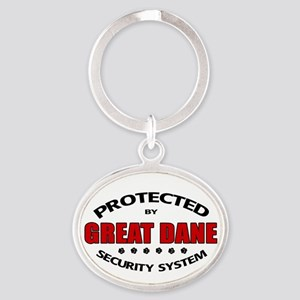 Great Dane Security Oval Keychain