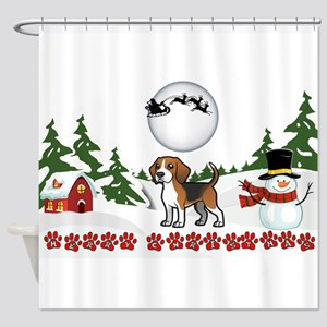 Merry Christmas Beagle Paws Shower Curtain