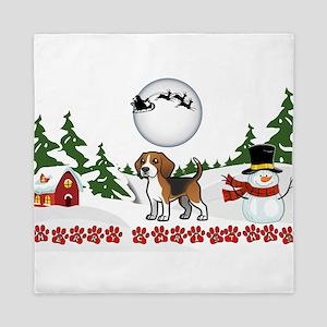 Merry Christmas Beagle Paws Queen Duvet