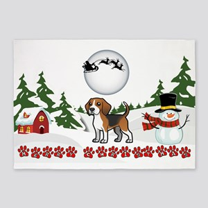 Merry Christmas Beagle Paws 5'x7'Area Rug