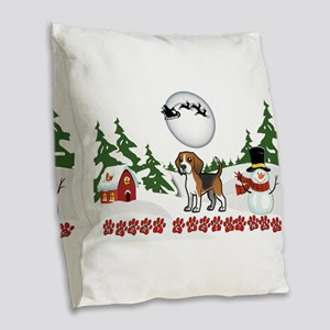 Merry Christmas Beagle Paws Burlap Throw Pillow