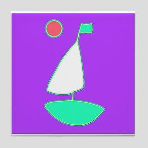 Violet Sailing Sailboat with Moon 4Ha Tile Coaster