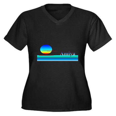 Amiya Women's Plus Size V-Neck Dark T-Shirt