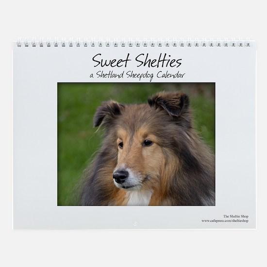 Cute Shetland dog Wall Calendar