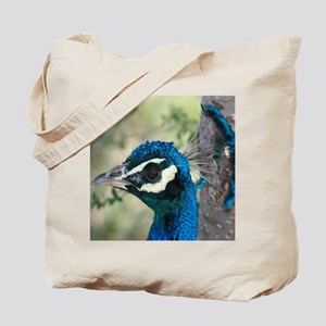Peacock Blue Head with Crown Feathers Tote Bag