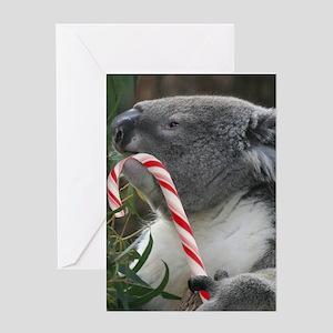 Christmas Koala Candy Cane Greeting Cards