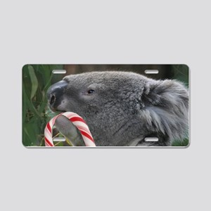 Christmas Koala Candy Cane Aluminum License Plate