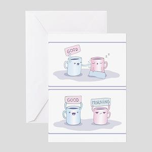 couple shirts good morning wake up Greeting Cards