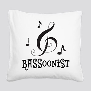 Bassoonist Music Logo Square Canvas Pillow