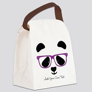 Cute Panda Purple Canvas Lunch Bag