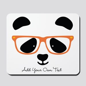 Cute Panda with Orange Glasses Mousepad