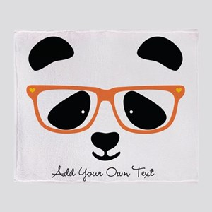 Cute Panda with Orange Glasses Throw Blanket