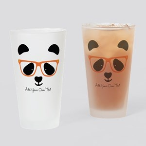 Cute Panda with Orange Glasses Drinking Glass