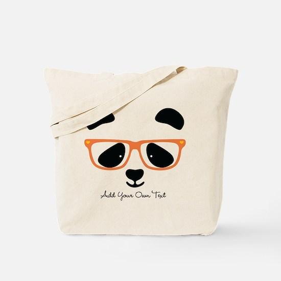 Cute Panda with Orange Glasses Tote Bag