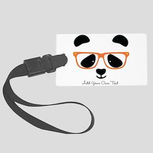Cute Panda with Orange Glasses Large Luggage Tag