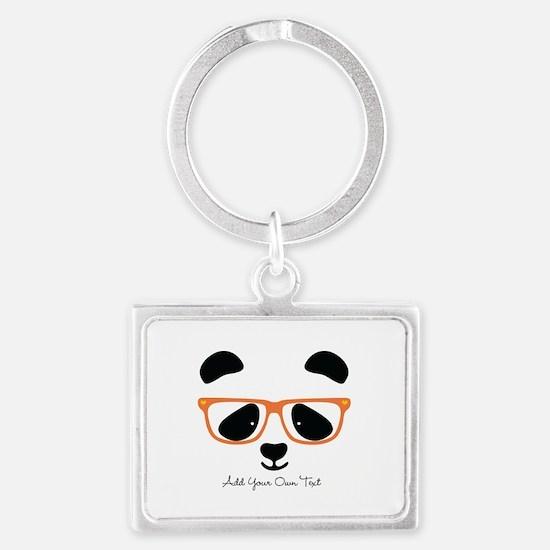 Cute Panda with Orange Glasses Landscape Keychain