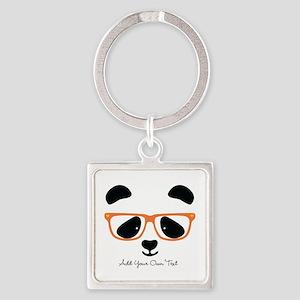 Cute Panda with Orange Glasses Square Keychain