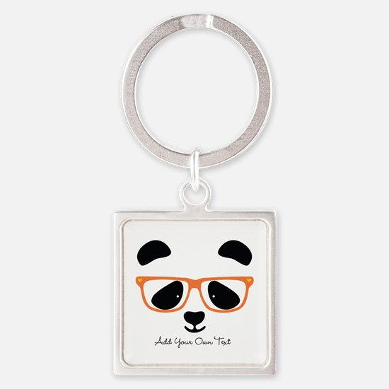 Cute Panda with Orange Glasses Square Keychain