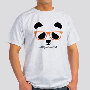 Cute Panda with Orange Glasses Light T-Shirt