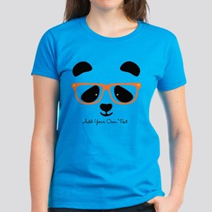 Cute Panda with Orange Glasse Women's Dark T-Shirt