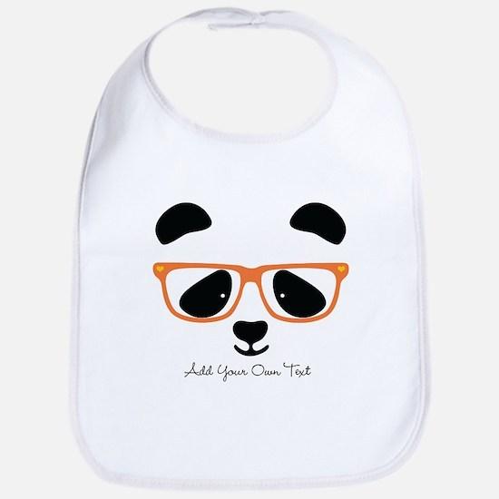 Cute Panda with Orange Glasses Cotton Baby Bib