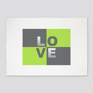LOVE - Chartreuse and Gray 5'x7'Area Rug