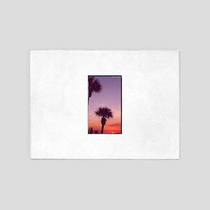 Palm trees,sunset, photo 5'x7'Area Rug